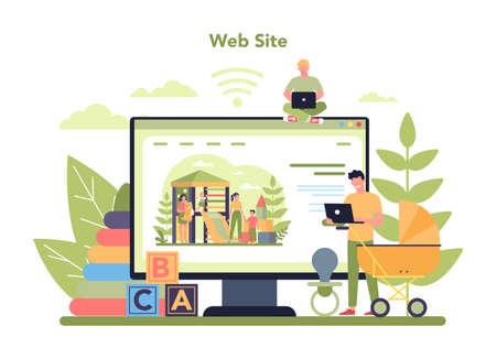 Babysitter service or nanny agency online service or platform. In-home