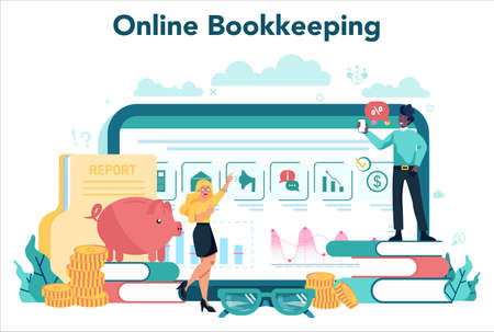 Accountant online service or platform. Professional bookkeeper 일러스트