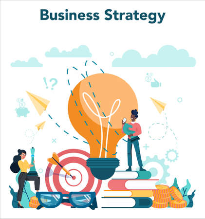 Business analyst concept. Business strategy and project management. 일러스트