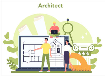 Architecture concept. Idea of building project and construction work. 일러스트
