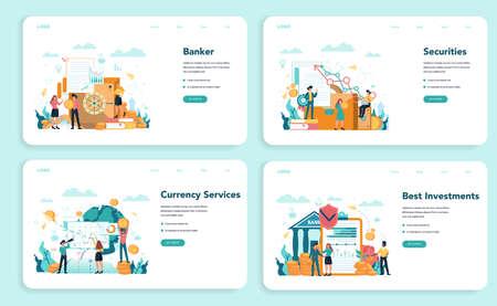 Banker or banking web banner or landing page set. Idea of finance 일러스트