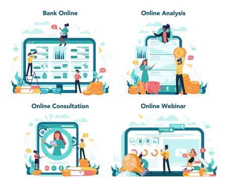 Banking online service or platform on differernt device concept set. Online 일러스트