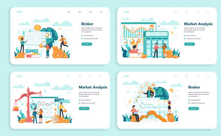 Financial broker web banner or landing page set. Income, investment