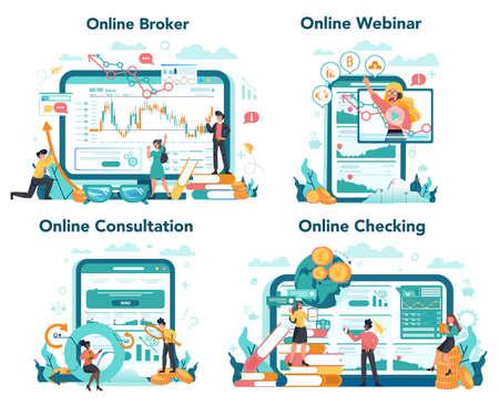Financial broker online service or platform set. Income, investment and 일러스트
