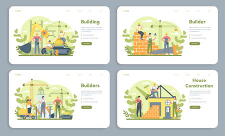 House building web banner or landing page set. Workers constructing 일러스트