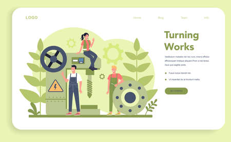 Turner or lathe web banner or landing page. Factory worker using turning machine to make metal detail. Metalworking and industrial manufacturing. Isolated flat vector illustration