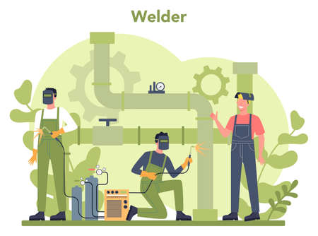 Welder and welding service concept. Professional welder in protective mask and gloves. Man in uniform welding metal pipe and construction made of steel. Industrial profession. Vector illustration 일러스트