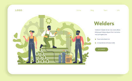 Welder and welding service concept web banner or landing page. Professional welder in protective mask and gloves. Man in uniform welding metal pipe and construction. Vector illustration 일러스트