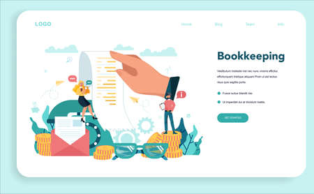 Accountant web banner or landing page. Professional bookkeeper. Concept of the tax calculating and financial analysis. Business character making financial operation. Vector illustration