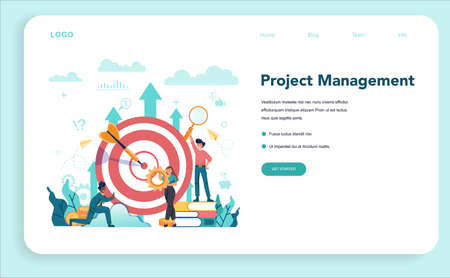 Business analyst web banner or landing page. People working with graph and diagram for data visualisation. Business strategy and project management. Optimization and progress. Vector illustration