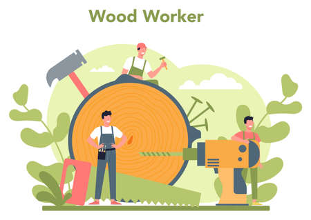 Woodworker or carpenter concept. Builder wearing helmet
