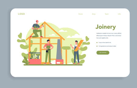 Woodworker or carpenter concept web banner or landing page.