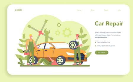 Car service web banner or landing page. People repair car using  イラスト・ベクター素材