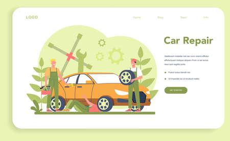 Car service web banner or landing page. People repair car using 일러스트