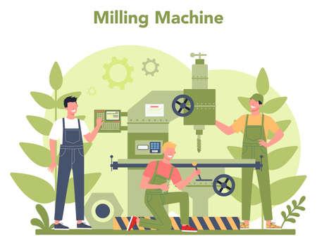 Miller and milling concept illustration. Engineer drilling metal