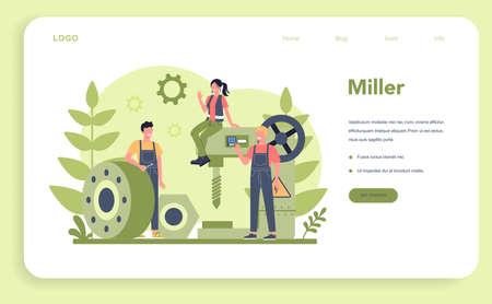 Miller and milling web banner or landing page. Engineer drilling metal 일러스트