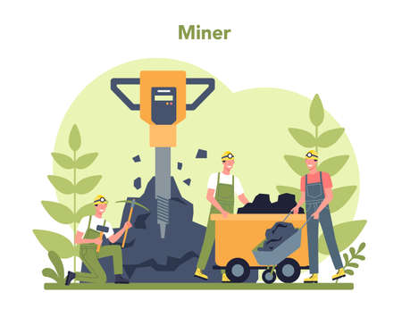 Coal or minerals mining concept. Worker in uniform and helmet with Illustration