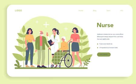 Nurse service web banner or landing page. Medical occupation