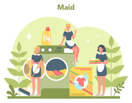 Maid service, cleaning service, apartment cleaning. Woman in a classic