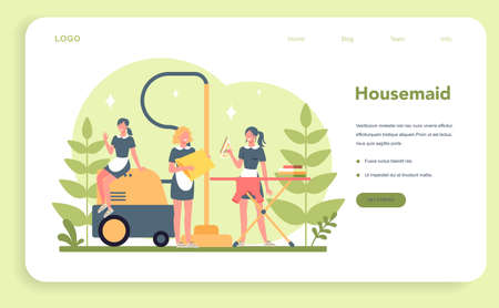 Maid service, cleaning service, apartment cleaning web banner