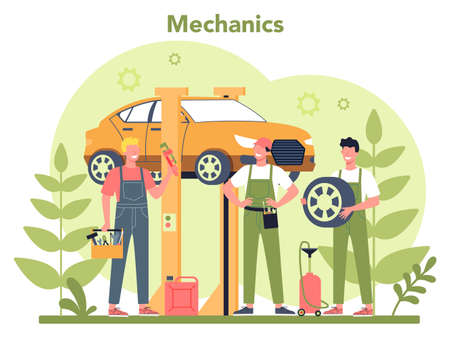 Car service concept. People repair car using professional tool. Idea 向量圖像