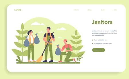 Cleaning company or janitor service web banner or landing page. Cleaning 일러스트