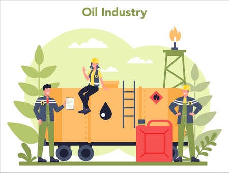 Oilman and petroleum industry concept. Pump jack extracting crude