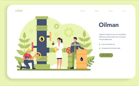 Oilman and petroleum industry web banner or landing page 일러스트