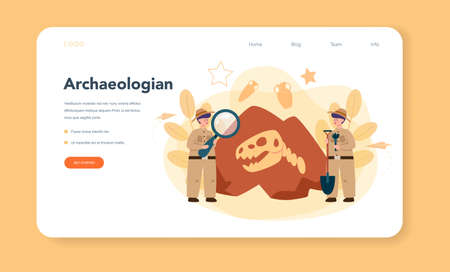 Archaeologist web banner or landing page. Ancient history scientist, paleontologist. Knowledge of past and ancient. Antique civilization research. Isolated vector illustration in flat style