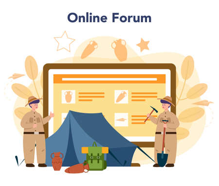 Archaeologist online service or platform. Ancient history scientist, paleontologist. Online forum. Isolated vector illustration in flat style 일러스트
