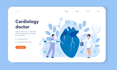 Cardiology web banner or landing page. Doctor deal with the disorder of the heart. Cardiology doctor make diagnos and treatment of congential heart defect. Vector illustration.