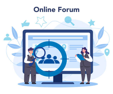 Demographer online service or platform. Scientist studying population, analyze data about demographic numbers. Online forum. Vector illustration Stock Illustratie