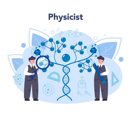 Physicist concept. Scientist explore electricity, magnetism, light wave and forces. Theoretical and practical study. Isolated vector illustration
