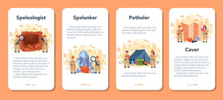 Speleologist mobile application banner set. Scientst studying caves and other karst features, as well as their make-up and structure. Isolated vector illustration