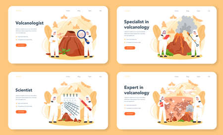 Volcanologist web banner or landing page set. Geologist studying the processes and activity of volcanoes and current and historic eruption. Isolated vector illustration