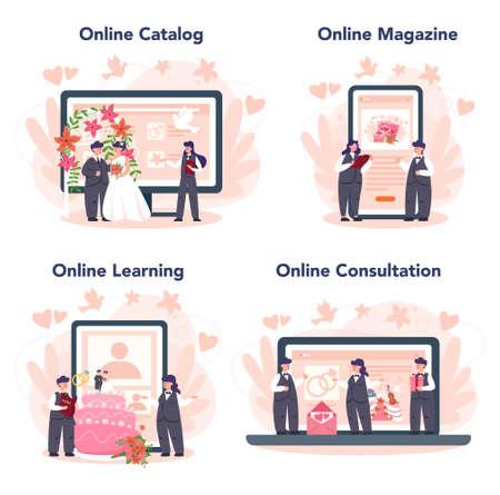 Wedding planner online service or platform set. Professional organizer planning wedding event. Online catalog, magazine, learning, consultation. Isolated vector illustration Ilustração