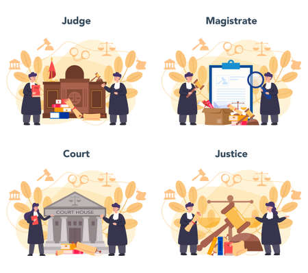 Judge concept set. Court worker stand for justice and law. Judge in traditional black robe. Judgement and punishment idea. Isolated flat vector illustration