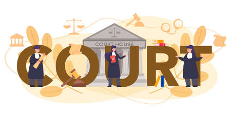 Court typographic header concept. Court worker stand for justice and law. Judge in traditional black robe. Judgement and punishment idea. Isolated flat vector illustration