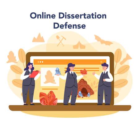 Mineralogist online service or platform. Professional scientist studying natural stone and mineral. Online dessertation defense. Isolated vector illustration
