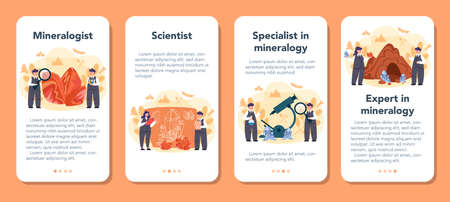 Mineralogist mobile application banner set. Professional scientist studying natural stone and mineral. Stones for jewelry and chemical reaction. Isolated vector illustration