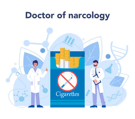 Narcologist concept. Professional medical specialist treat human against drug, alcohol and tobacco addiction. Psychiatrician help. Idea of health and medical treatment. Vector illustration