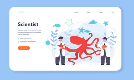 Oceanologist web banner or landing page. Oceanography scientist. Practical studying all aspects of the world's oceans and seas. Isolated vector illustration Ilustracja