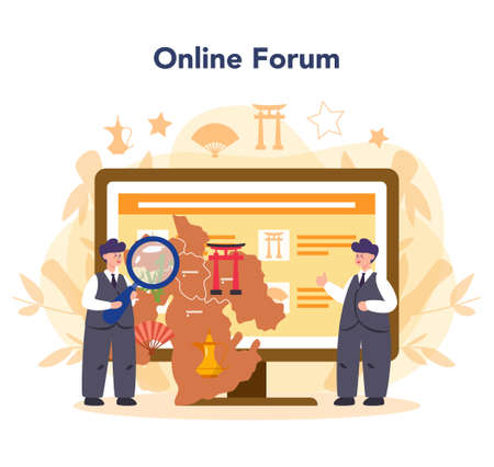 Orientalist online service or platform. Professonal scientist studying Near Eastern and Far Eastern. Online forum. Isolated vector illustration