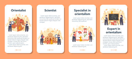 Orientalist mobile application banner set. Professonal scientist studying Near Eastern and Far Eastern society and culture. Middle Eastern studies and Asian studies. Isolated vector illustration Ilustracja