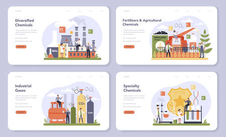 Chemical industry web banner or landing page set. Industrial chemistry and chemicals production. Oil, gas and fertilizer. Isolated flat vector illustration