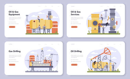 Oil and gas industry web banner or landing page set. Fuel factory, barrel with diesel. Industrial exploration of petroleum, diesel fuel. Moddern technology for exploration. Vector illustration