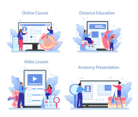Anatomy subject online service or platform set. Internal human organ studying. Anatomy and biology concept. Online course, presentation, distance education, video lesson. Vector illustration