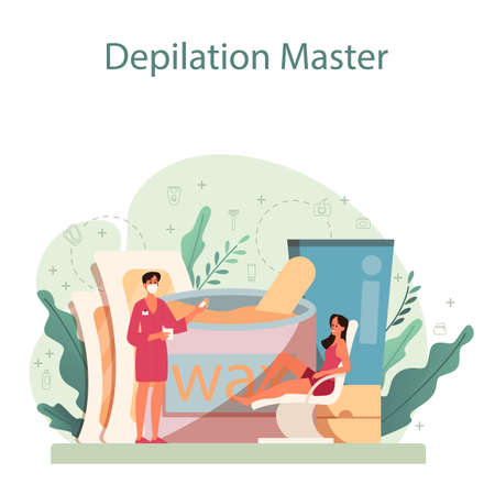Depilation and epilation concept. Hair removal methods idea. Epilation beauty procedure. Idea of body and skin care and beauty. Isolated vector illustration Ilustración de vector