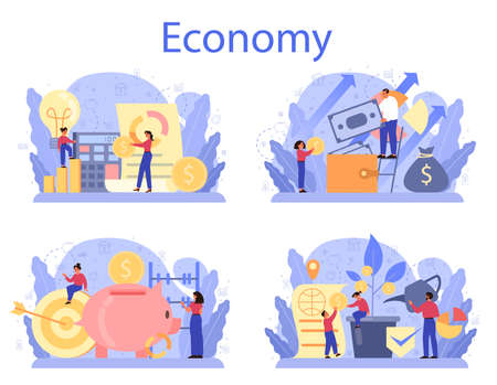Economy school subject concept set. Student studying economics and money. Idea of business capital, investment and money making. Vector illustration in cartoon style 向量圖像