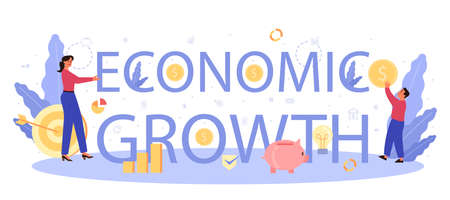 Economic growth school subject typographic header. Student studying economics and money. Idea of business capital, investment and money making. Vector illustration in cartoon style